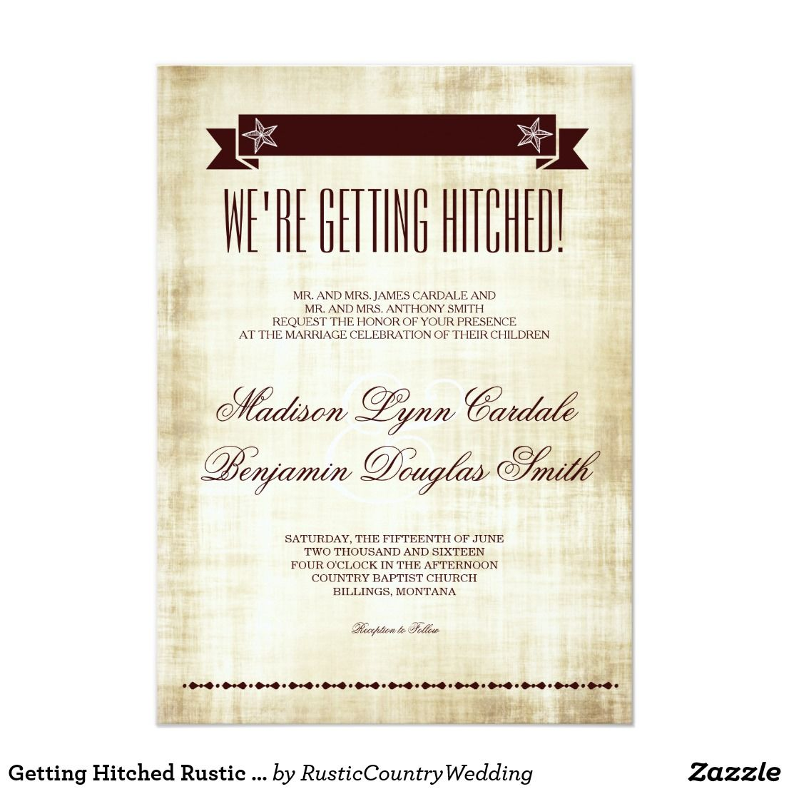 Getting Hitched Rustic Country Wedding Invitations We Re