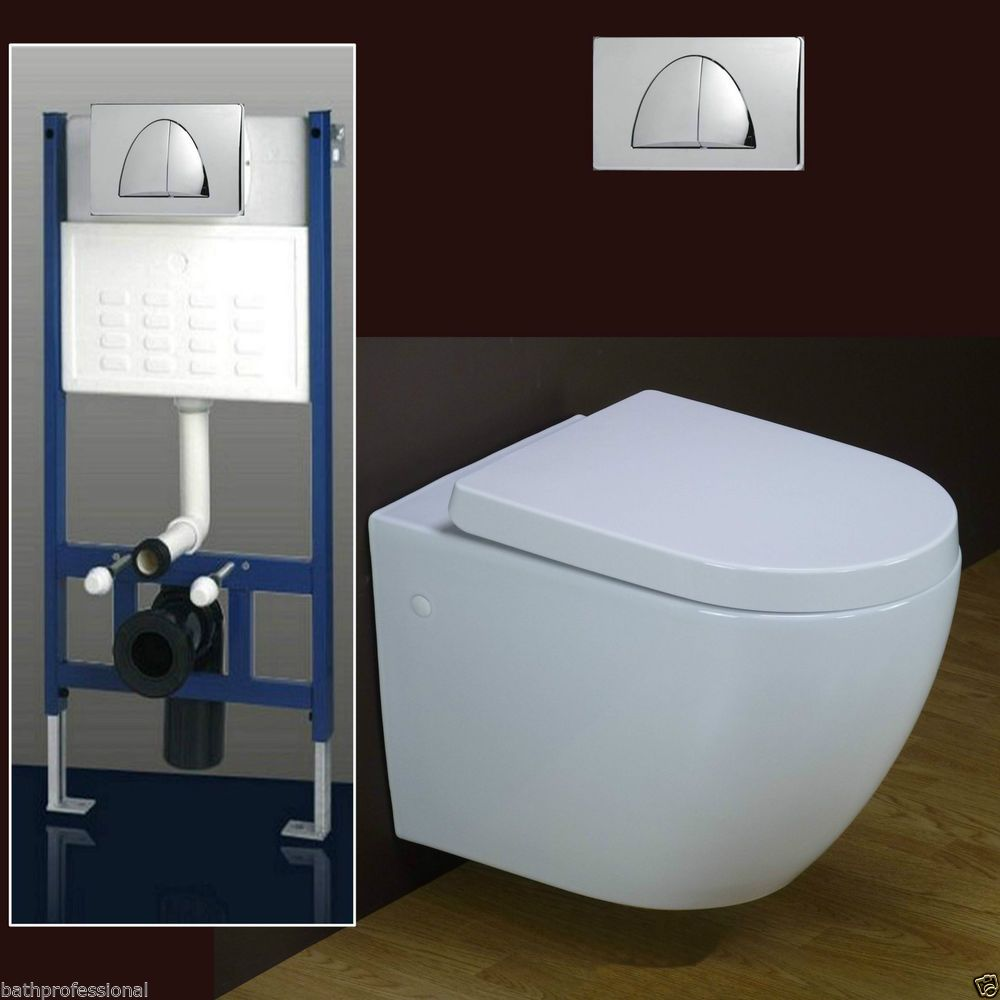 Toilet WC Bathroom Wall Hung Mounted Ceramic Concealed Frame Heavy ...