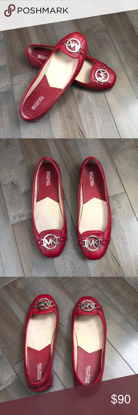 Michael Kors Red leather Michael Kors flats with silver hardware accents. Gently used condition, signs of wear shown in pictures. Shoes Flats & Loafers