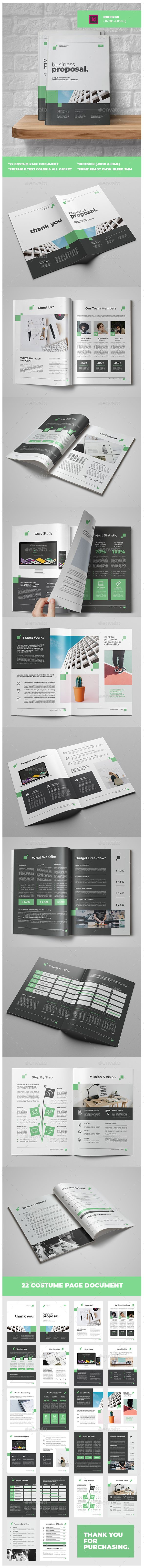 Busiines Proposal Brochure Template InDesign INDD O 22 Custom Pages Document Premade Cover Design Print Ready CMYK 300 Dpi All Editable Text
