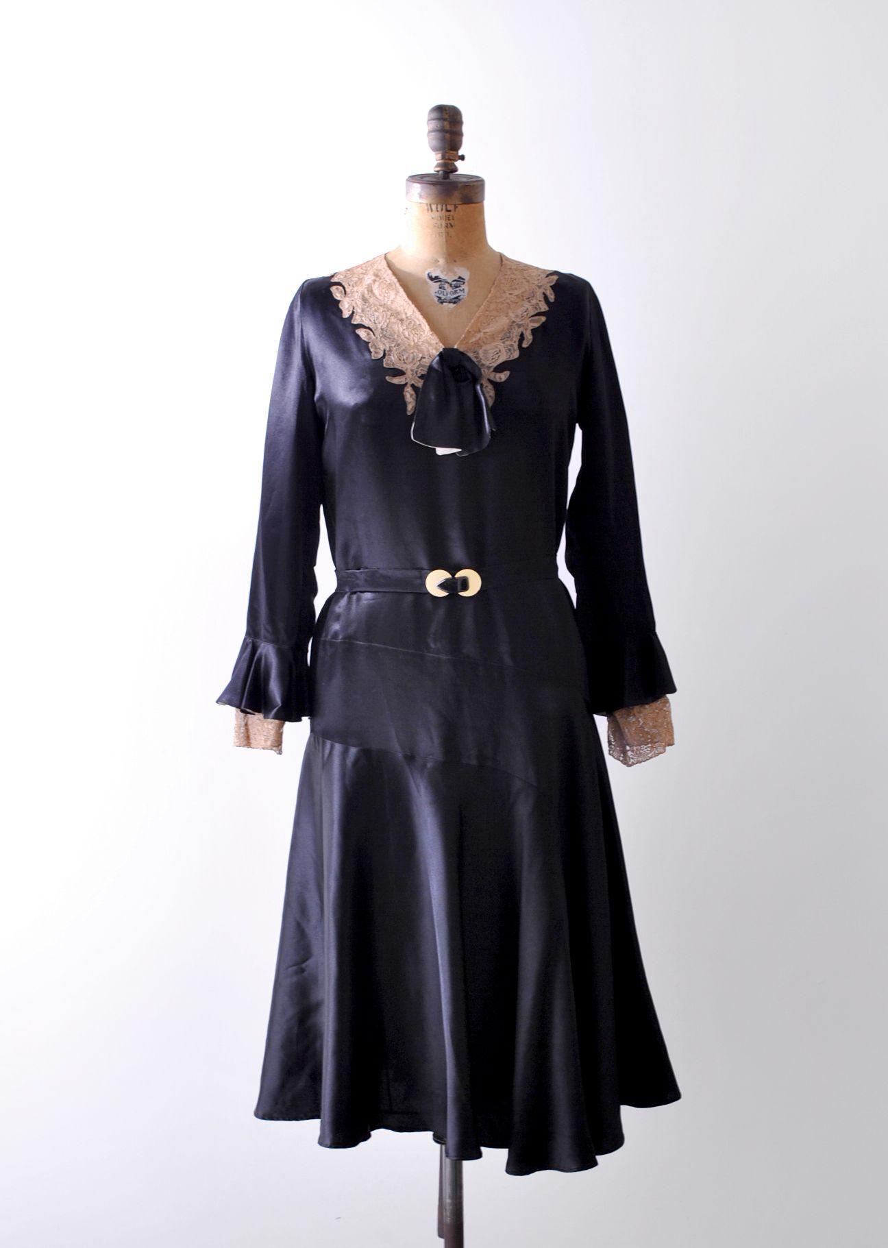 1930 S Black Satin Dress 30 Lace Dress Liquid Satin Etsy Black Satin Dress Dresses Antique Lace Dress [ 1821 x 1296 Pixel ]