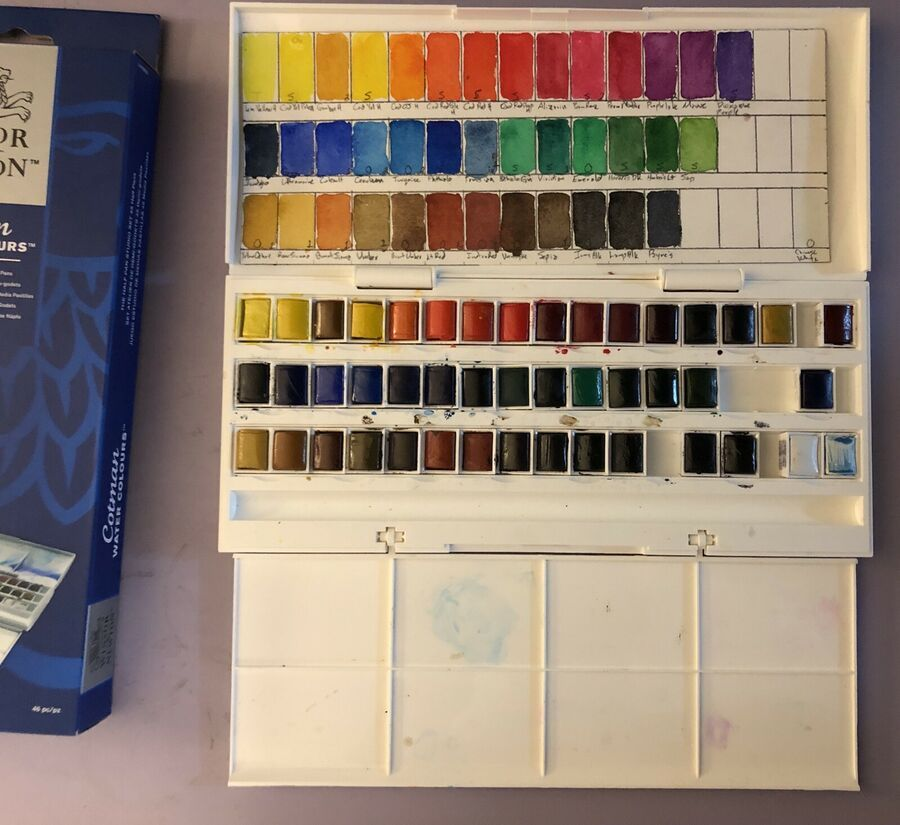 Winsor And Newton Cotman Water Color Half Pan Studio Set 40 Colors
