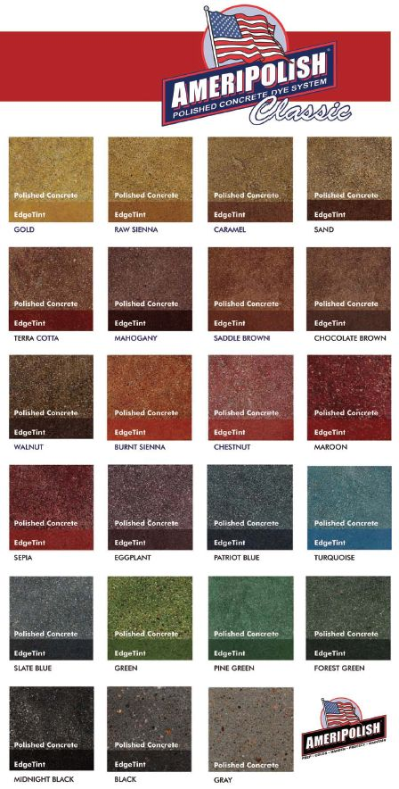 Concrete Dye Color Chart From Ameripolish Features 22 Vivid Colors From Their Classic Line Of Dyes Concrete Dye Concrete Stained Floors Polished Concrete