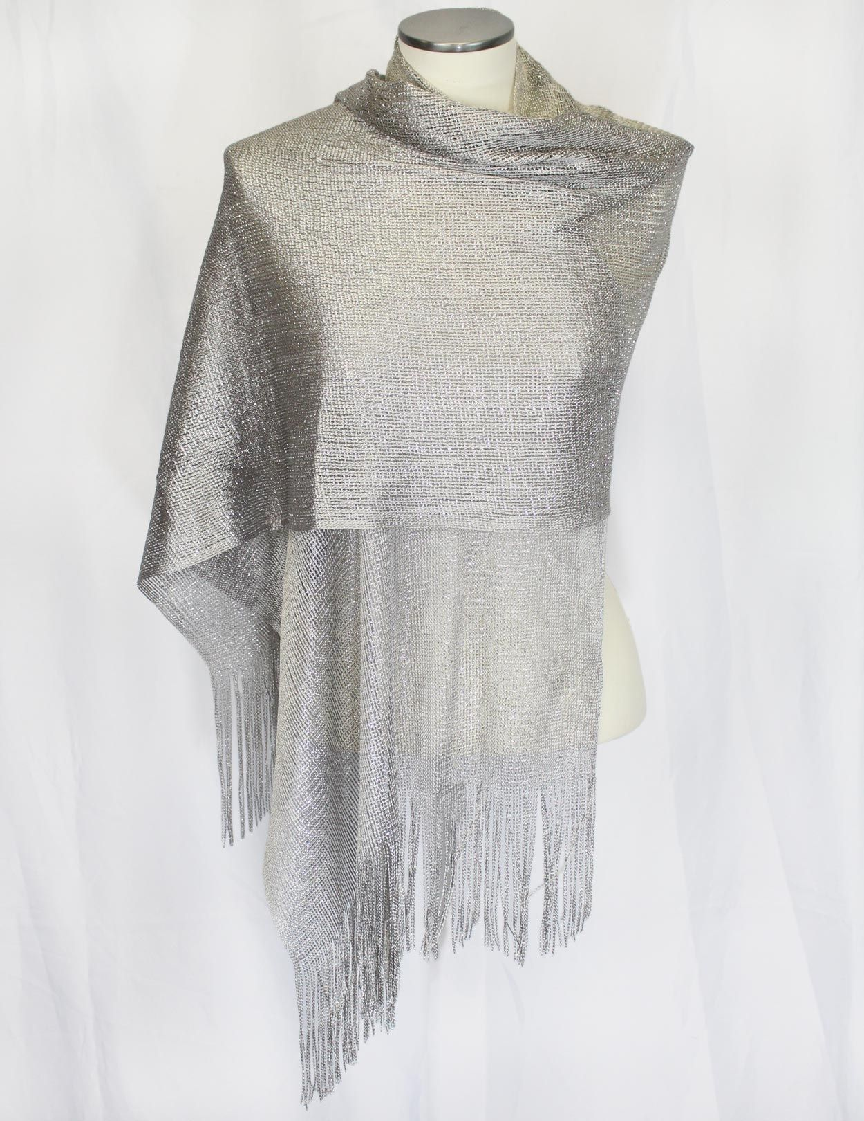 Sheer Silver Fishnet and Fringed Evening Wrap Shawl ...