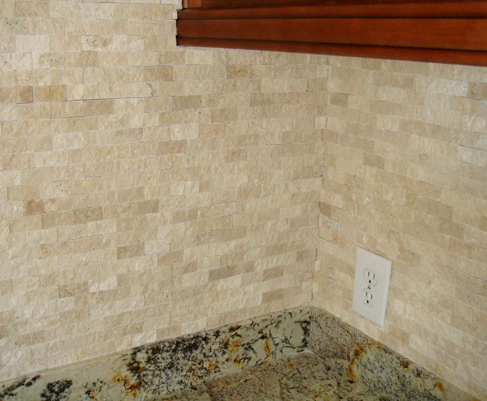 Split Face Tumbled Stone Backsplash Home Design Ideas Kitchens