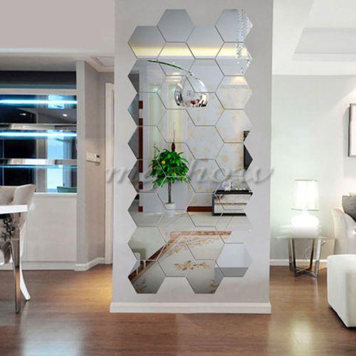 Details About 12pcs 3d Hexagon Acrylic Mirror Sticker Wall