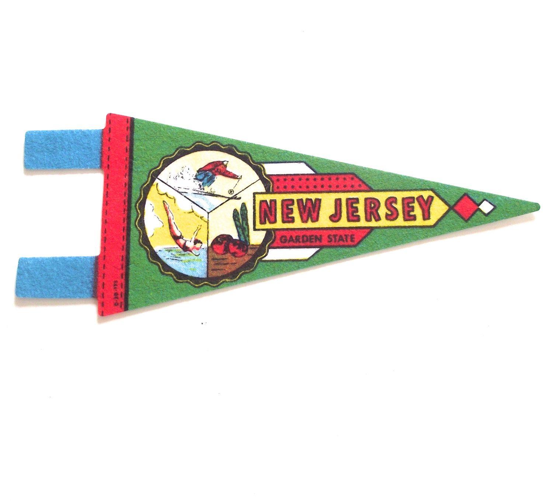 New Jersey Souvenir Pennant, Vintage Miniature NJ Garden State Felt Flag by planetalissa on Etsy