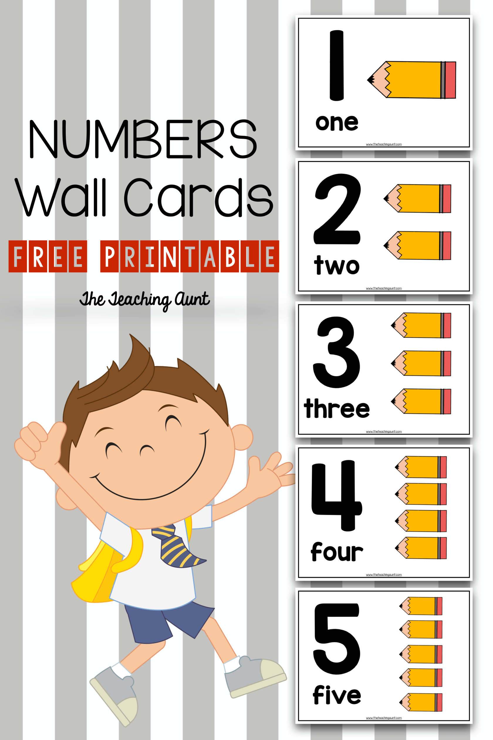 Number Wall Cards For Preschoolers