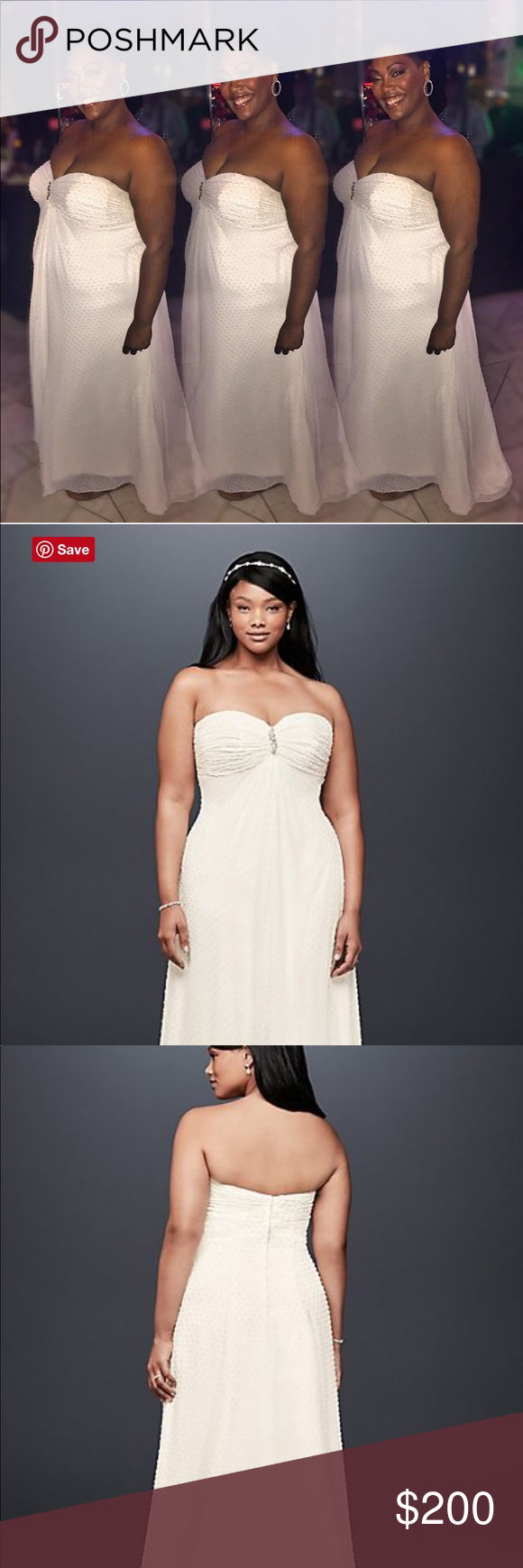 Plus size wedding reception dresses for guests  Davidus Bridal Dotted Chiffon Wedding Gown  Davids bridal dresses