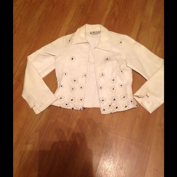 Vintage jacket White vintage jacket with black embroidered flowers zip up made of vinyl The Limited Jackets & Coats