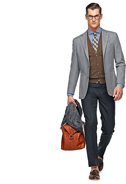 Dark Grey Pants, Light Grey Jacket, Brown Cardigan, Light Blue Shirt