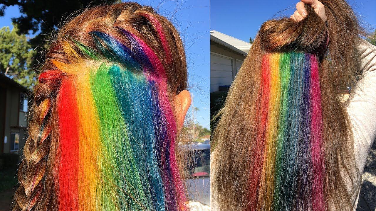 Secretly Dye Your Hair Hidden Rainbow Hair Tutorial Youtube Hidden Rainbow Hair Hidden Hair Color Hair Tutorial