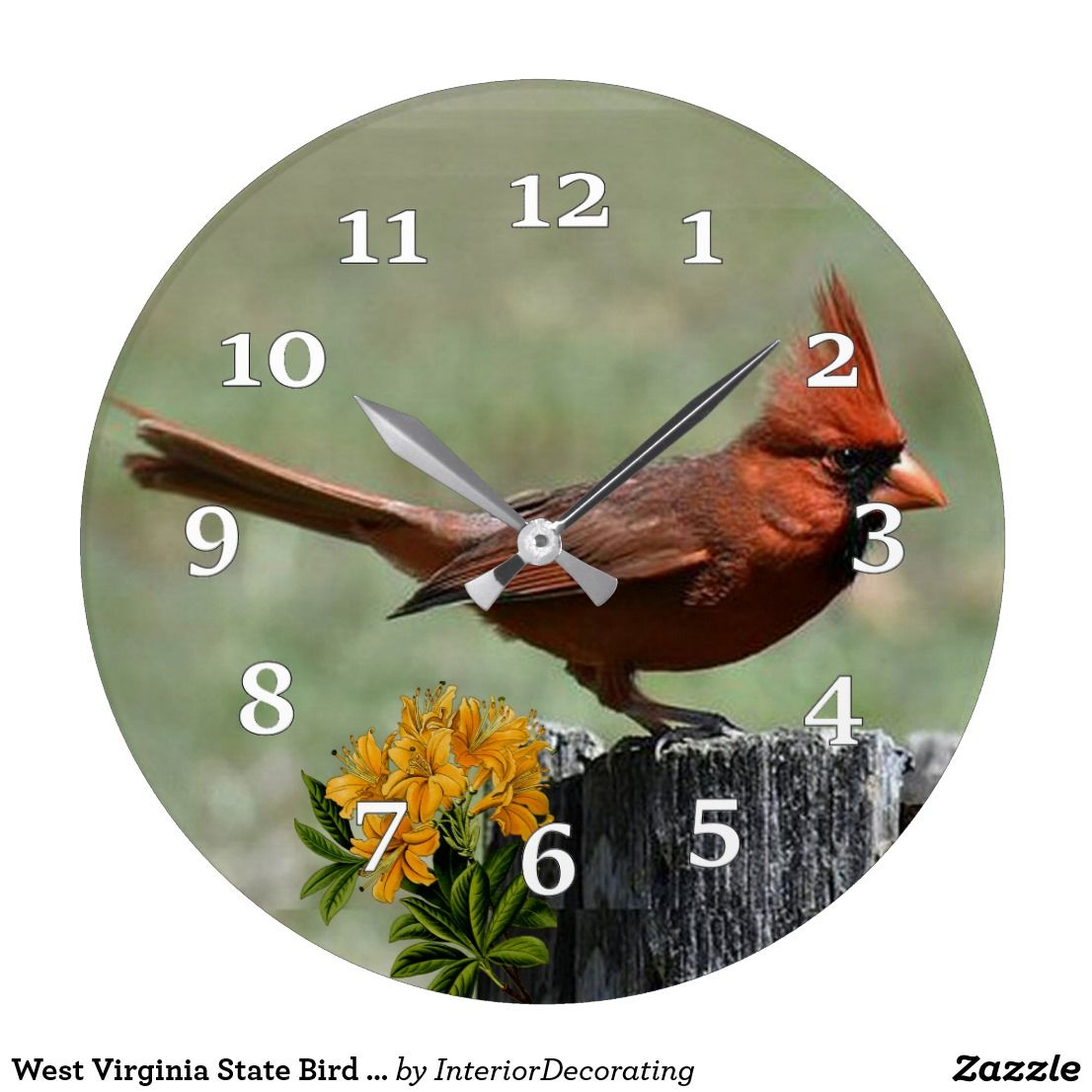 West Virginia State Bird And Flower Large Clock