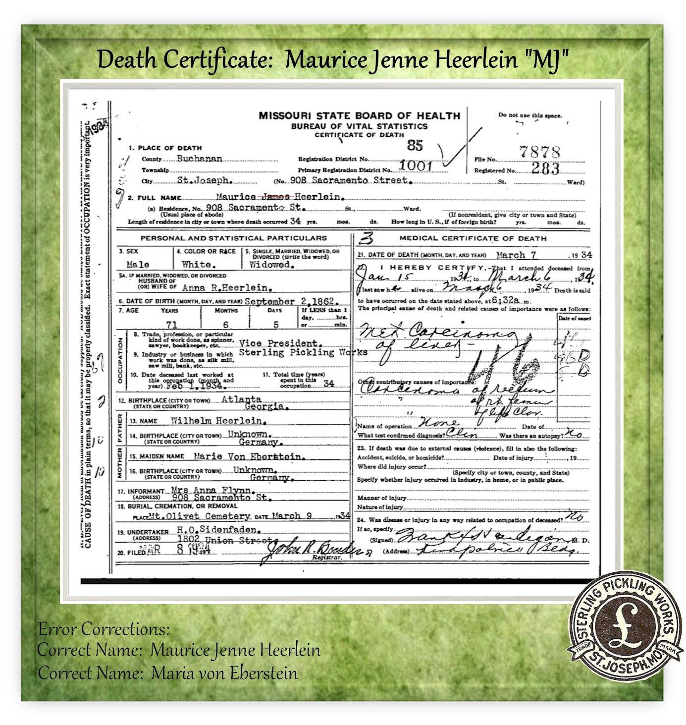 Death Certificate for Maurice Jenne Heerlein \
