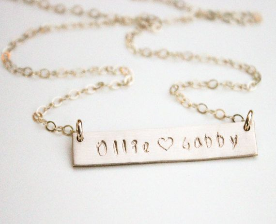 f976567f0 Gold Bar Necklace Personalize / Two Name Necklace / Mom Necklace ...