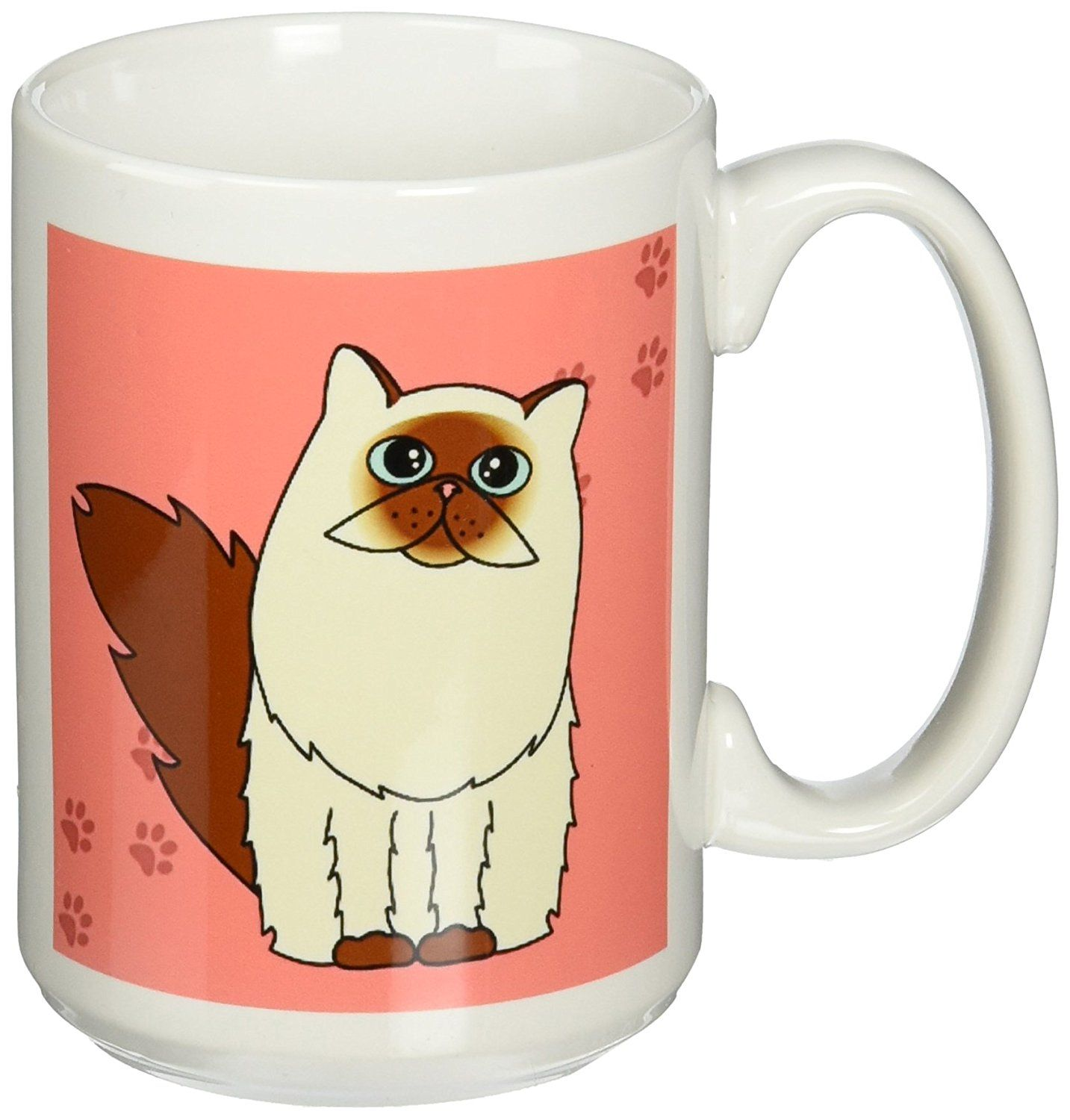 3dRose Himalayan Long Haired/Persian Cat Paw Print Mug, 15