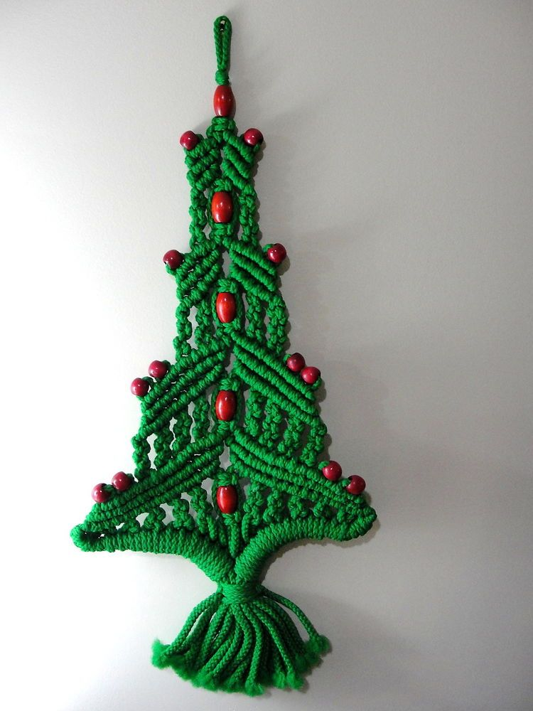 Holiday Christmas Mid Century Macrame Tree Wall Hanging 29