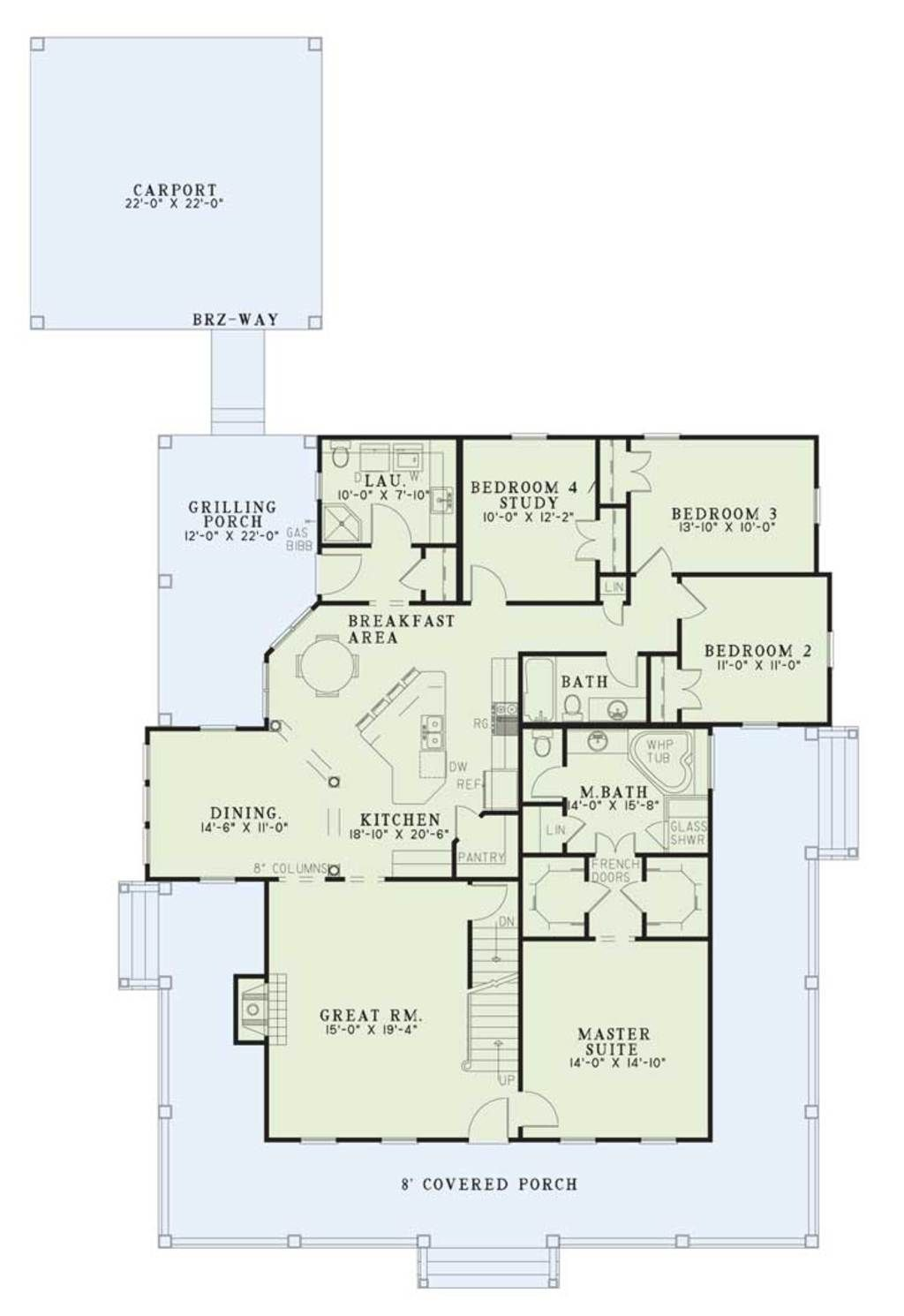 Southern main floor plan plan 17 1017 for Big ranch house plans