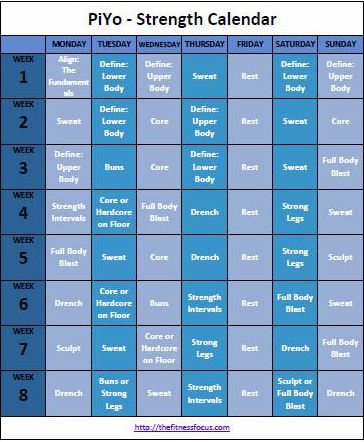 PiYo Workout Calendar And Schedule To Download Or Print Fitness