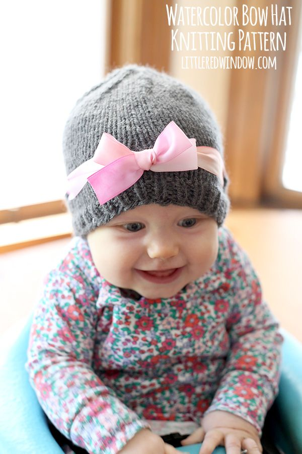 d6ce7e133 Watercolor Bow Hat Knitting Pattern