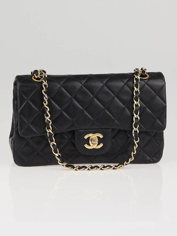 Chanel Vintage Navy Blue Quilted Lambskin Leather Small Classic Double Flap  Bag bda76f5d37