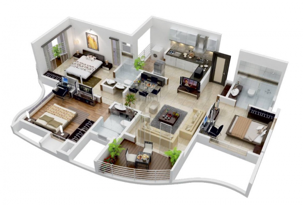 Modern Home 3D Floor Plans Three bedroom house plan, 3d