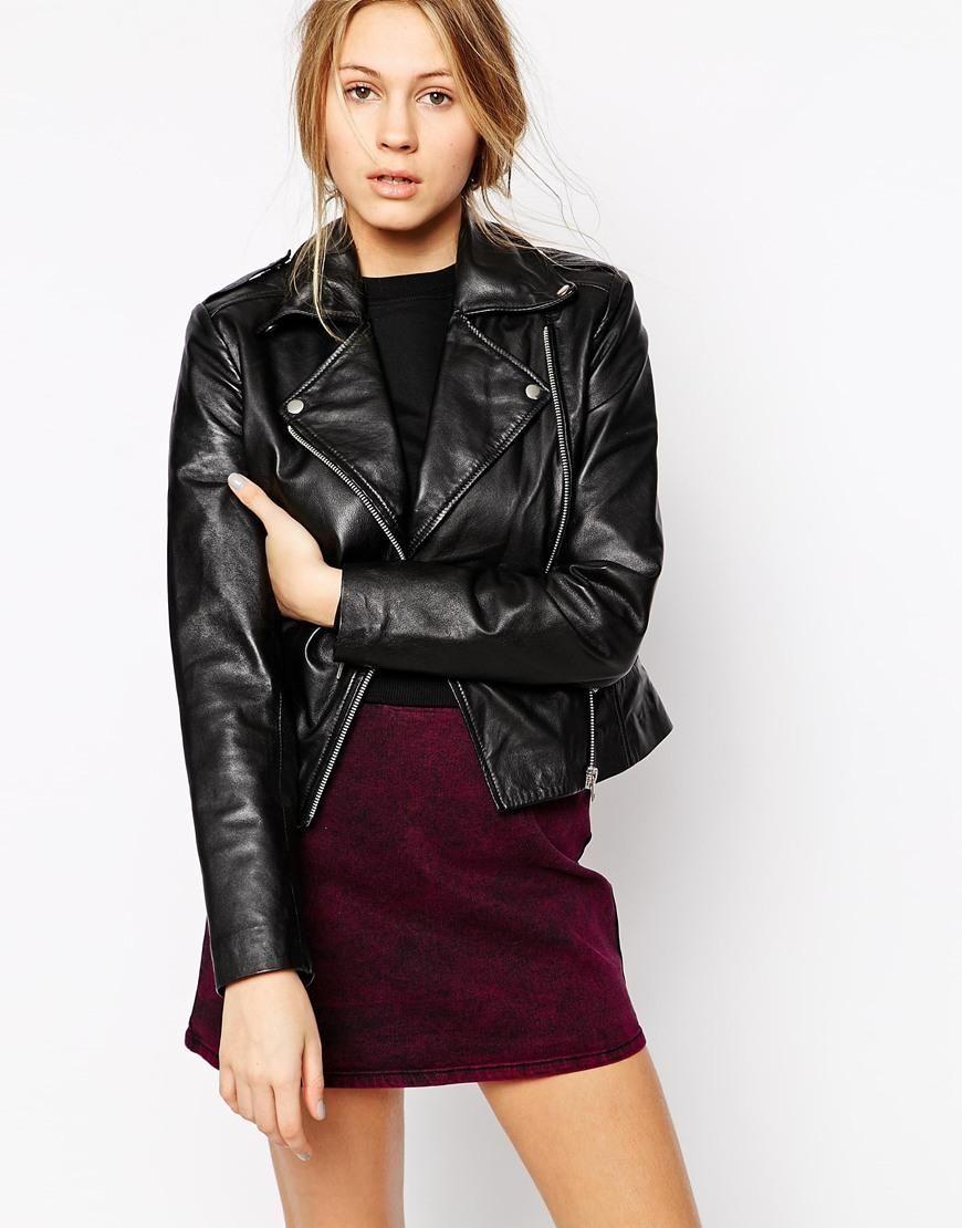Barneys originals women's black leather asymmetric biker jacket
