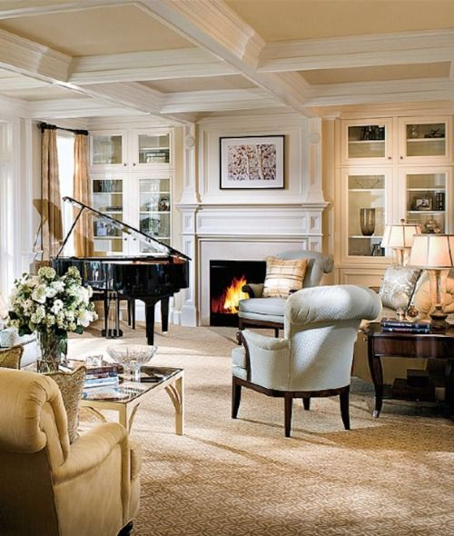 Pretty Room But The Piano Can T Be That Close To The Fireplace Or The Windows Outside Walls Grand Piano Living Room Piano Living Rooms Grand Piano Room
