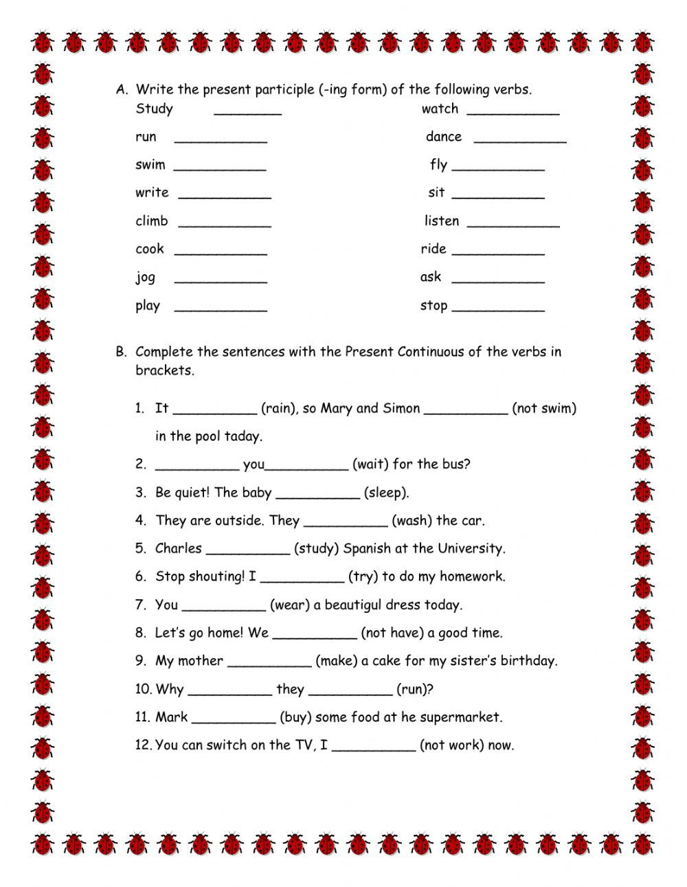 Workbooks spanish present tense practice worksheets : Present continuous interactive and downloadable worksheet. You can ...