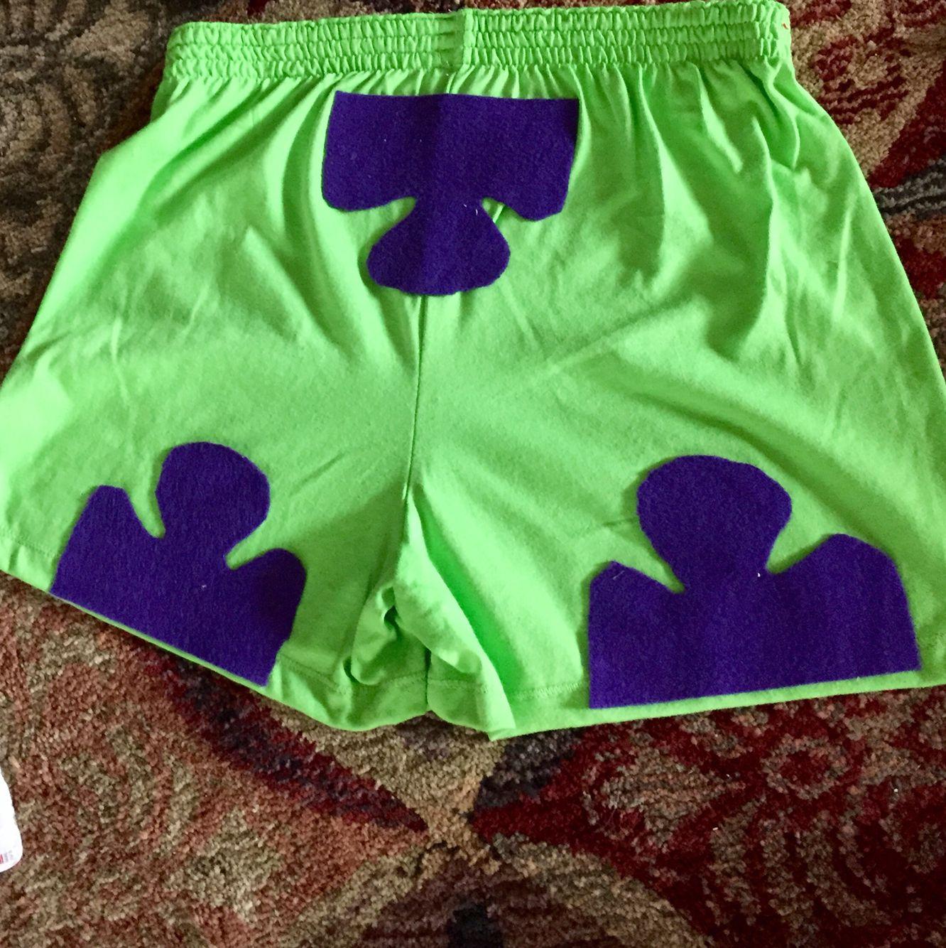 199ccb4807e DIY Patrick Star Shorts - lime green soffees and purple felt ...