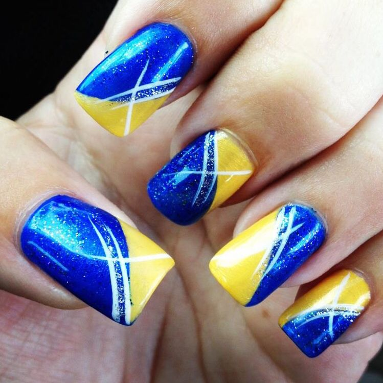 Blue and yellow nail art. San Diego Chargers nail idea
