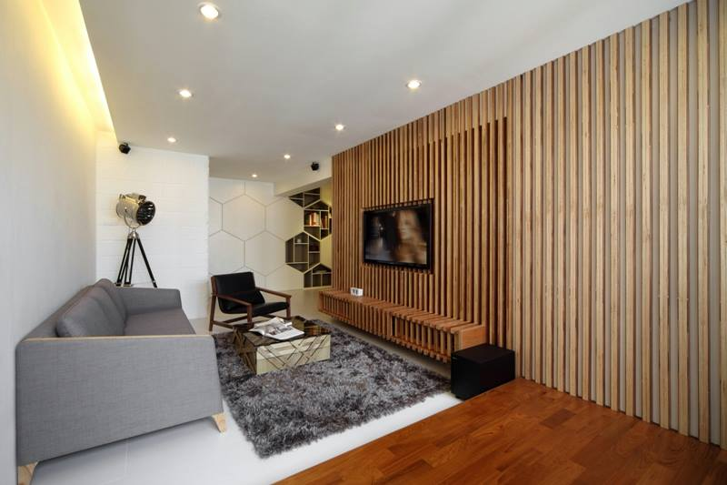 10 Spaces In Singapore That Use Slatted Wood In Style Wood Slat Wall Tv Feature Wall Room Swing
