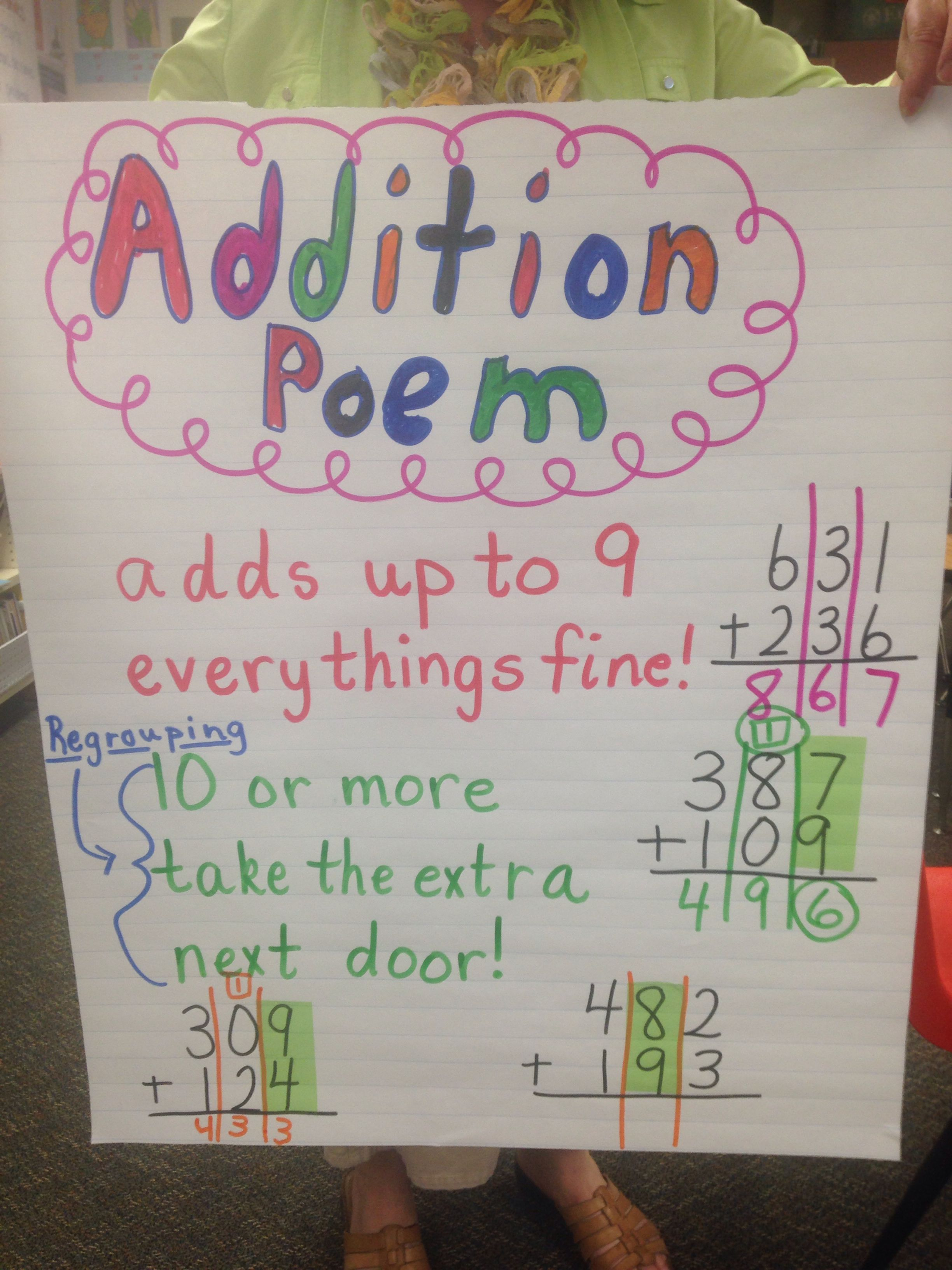 Addition Poem For Regrouping Math Classroom Math Addition Math Digit addition with regrouping song