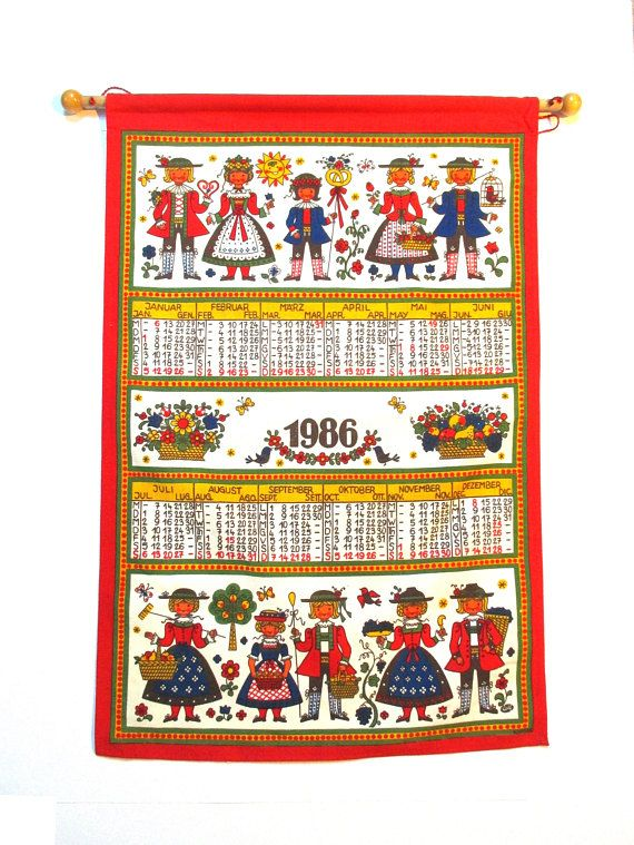 This Is A Vintage Calendar Tea Towel From Germany Dated 1986 Would