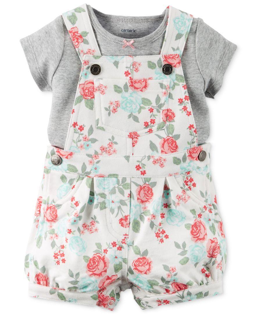 3848f0644d2f3 Carter's Baby Girls' 2-Piece Gray T-Shirt & Rose-Print Shortall Set ...