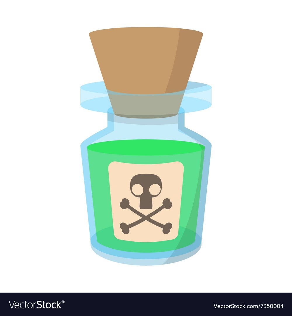 Glass Bottle With Poison Cartoon Icon Vector Image On