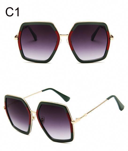165b503639 Big Shiny Sunglasses For Women 2018 New Oversized Square Red Green Brand  Sun Glasses Designer Fashion Female Shades Oculos   designersunglassesbrandred