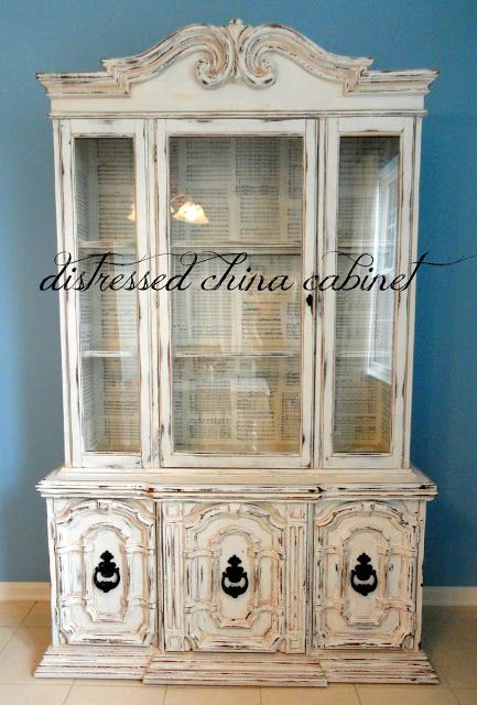 DIY Distressed China Cabinet I want to do this for my