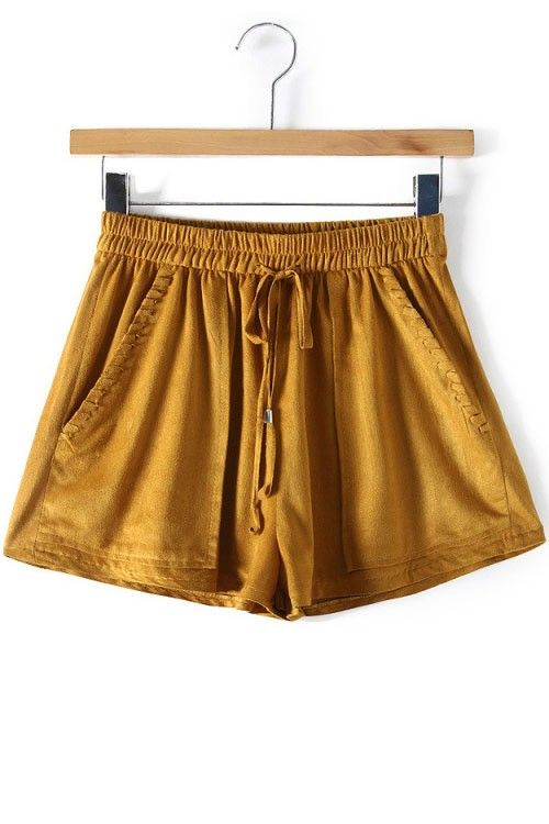 LUCLUC Yellow Ruched Pockets Short