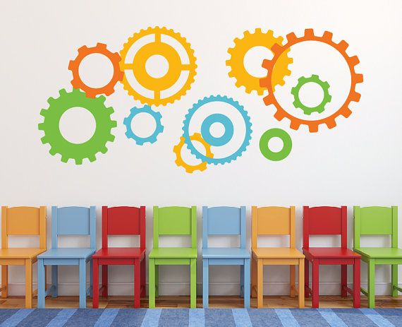 gears wheels and cogs wall decal, sticker robot, playroom wall