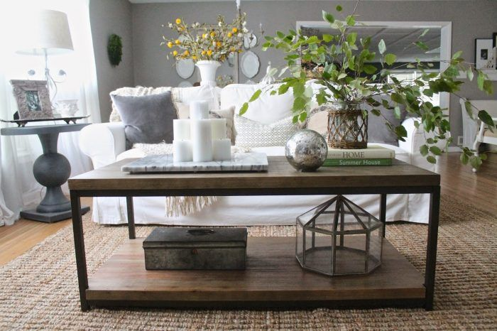 Gray Linen Couch Natural Wood Side Table And Fiber Rug First