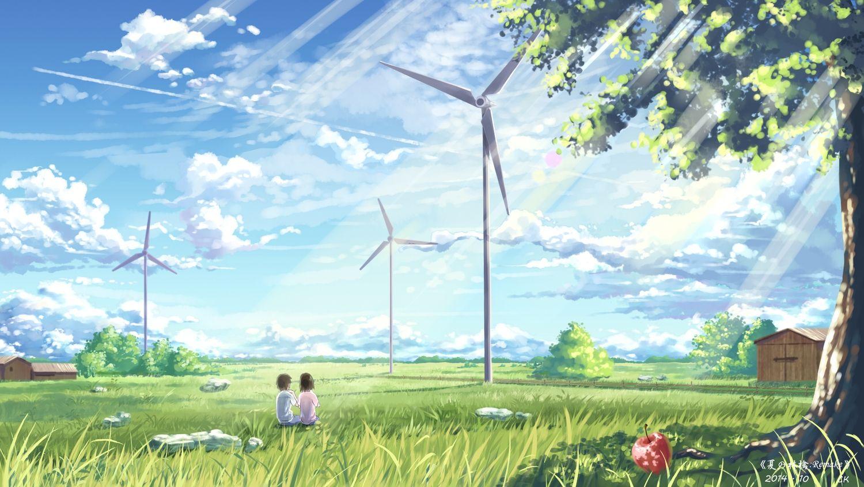 Apple Building Clouds Grass Original Scenic Signed Sky Tree Yuuko San Konachan Com Konachan Com Anim Anime Scenery Anime Scenery Wallpaper Anime Background