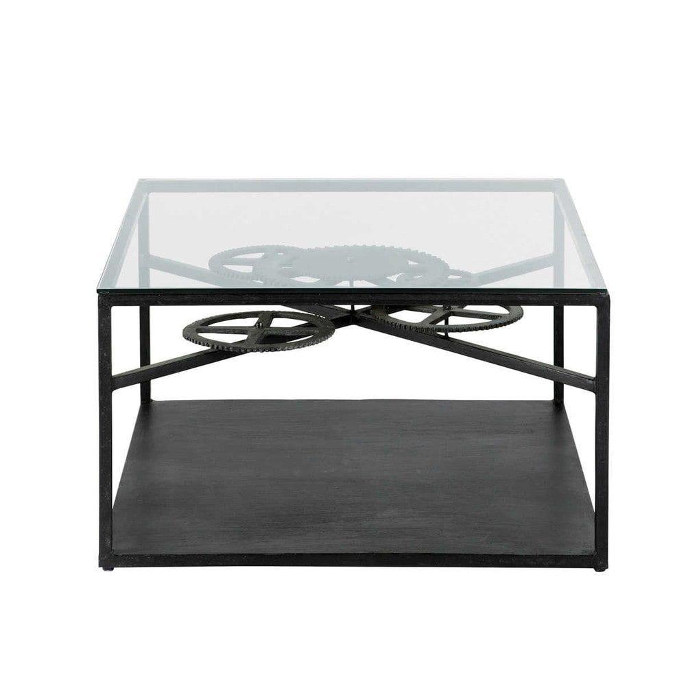 Rouage Table Blanc Laqué, Table En Verre