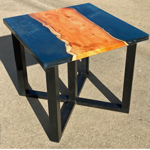 Yew Wood Amp Dark Blue Resin River Side Table Sold