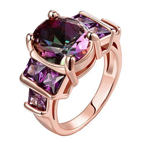 51b4dc3d8 LuckyWeng Women's New Exquisite Fashion Jewelry Hot Sale Rose Gold Purple  Diamond Ring