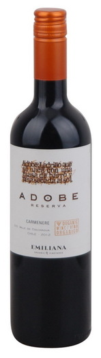 In stock - 4,95€ 2012 Emiliana Carmenére, red dry , Chile - 85pt