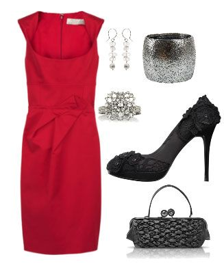 Vestido Rojo Y Complementos Negros Y Plateados Fashion