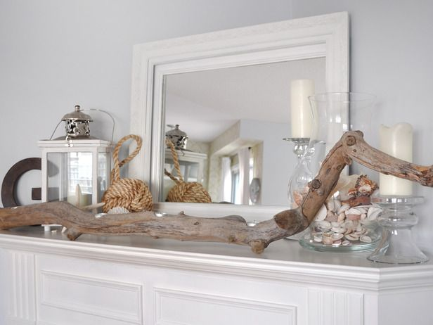 Summer Inspired Mantel Sticking With A Monochromatic Palette And