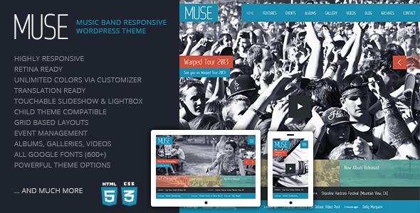 Muse: Music Band Responsive WordPress Theme (Entertainment ...
