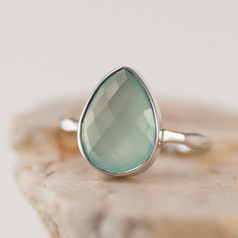Aqua Blue Chalcedony Ring - Gemstone Ring - Stacking Ring - Sterling Silver Ring - Tear Drop Ring $62 #delezhen